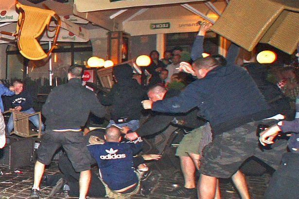 £££ reuse fee applies - Fans fight in Poznan