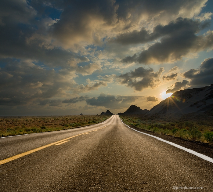 Long-Straight-Sunset-Road